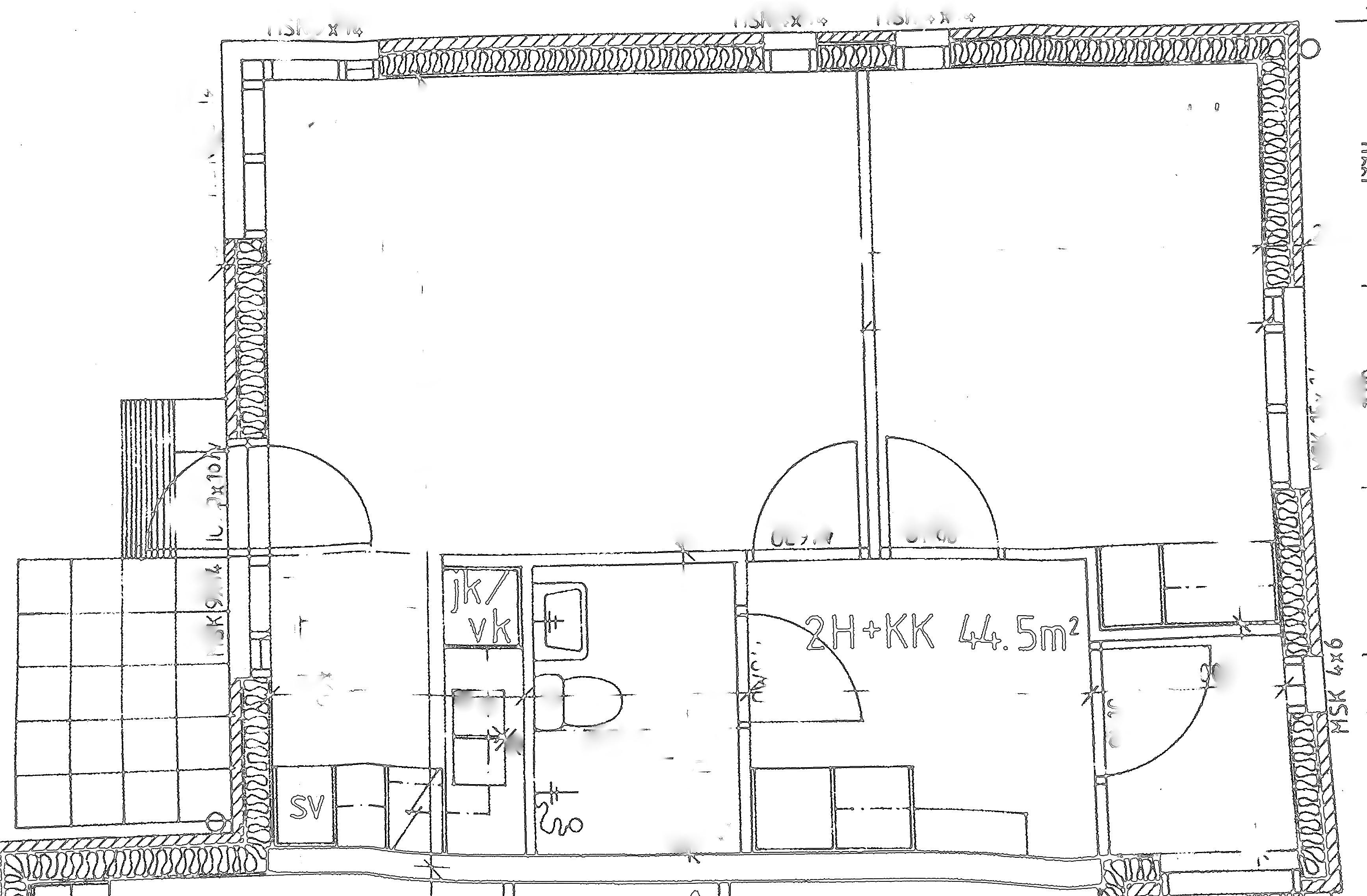 NivaOnni 44 m2 kaksio pohjakuva